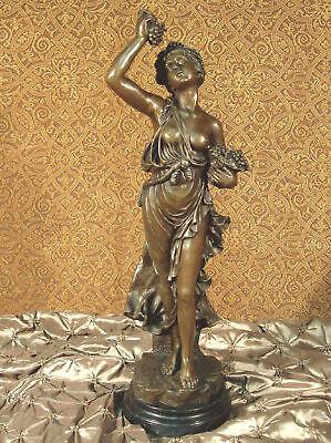 Genuine Bronze Metal Statue on Stone Grape Goddess Love Wine Vino CELLAR ARTWORK