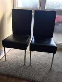 Pair of Black Faux Leather Dining Chairs