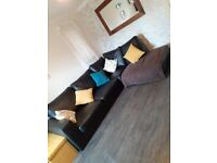 Corner Leather Sofa Black
