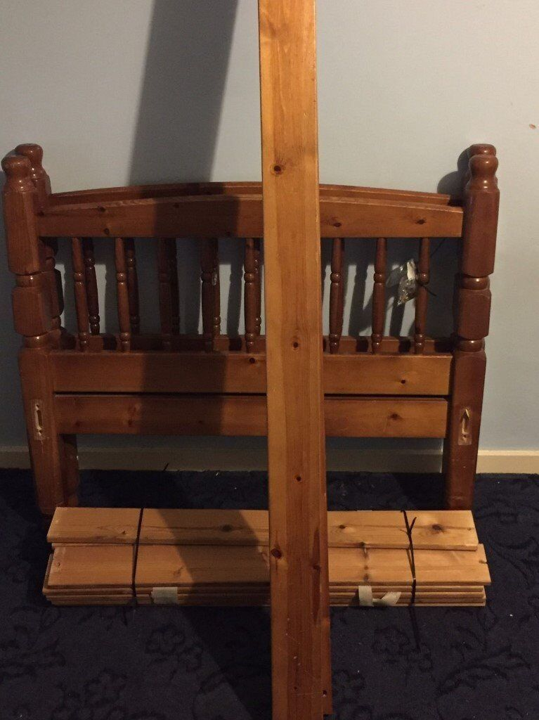Essentials Pine Wooden Bed Frame With Slats Included Nuts Bolts