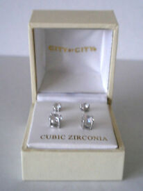 2 Pairs of City By City Cubic Zirconia Silver Stud Earrings in Gift Box