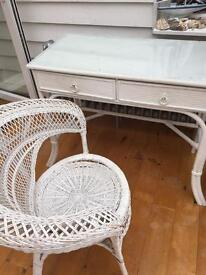 Vintage desk & Chair Lloyd loom style