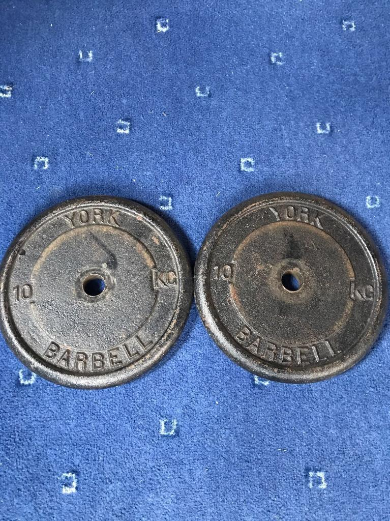 2x10kg cast iron weight plates