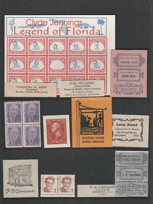 Page 12 Different Stamp Dealer Advertising Items, Name Tags, Cinderellas