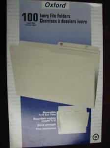 File Folders 100 Ivory Legal Size 1/2 tab Reversible Oxford