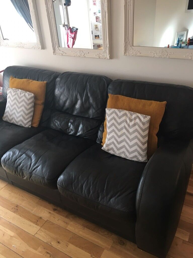 * Superb Cond. Black Italian Leather 3 Seater & Chair Sofa Settee Suite by Violino - BARGAIN *