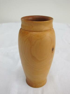 Vintage Wood Treen Vase 1980s Rustic Turned Yew  Artist Signed Noel Mergler 80s