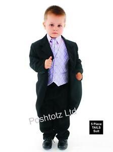 ninos-trajes-5-Piezas-Negro-amp-Lila-COLA-Formal-Paje-nino-boda-0-3mths-15yrs