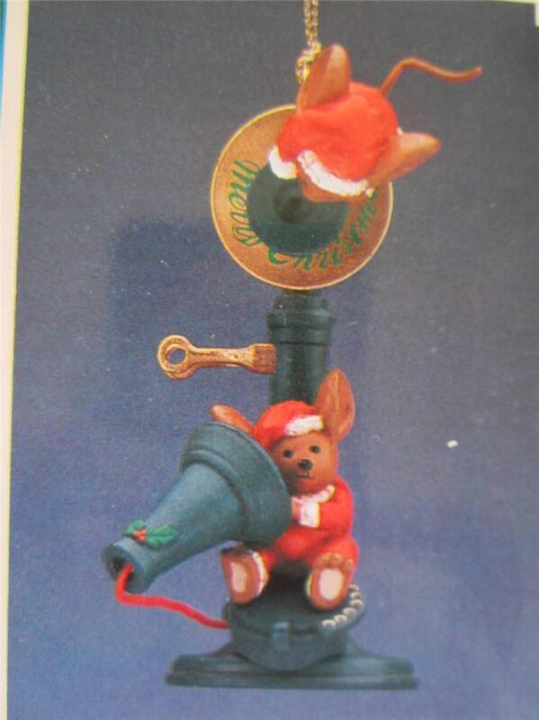 1990 Enesco Christmas Ornament Calling Home at Christmas Phone Mice 568457 NIB