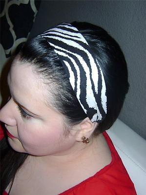 HANDMADE Black White ZEBRA* Women Headband Hair Accessory Hair Band With Elastic (Zebra Head Band)