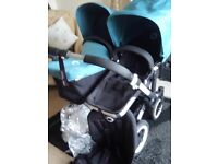Petrol Blue Bugaboo Donkey with Extendable Hoods