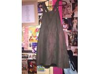 Green velvet pinafore/dungaree dress.