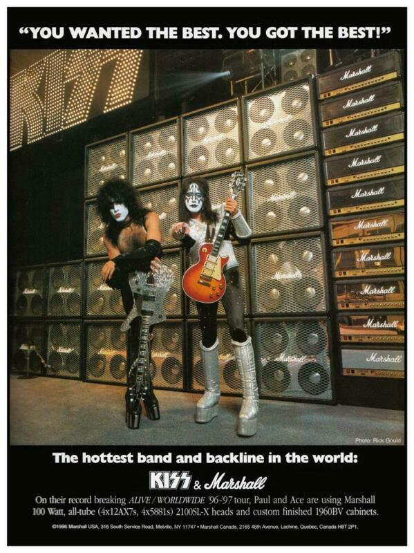 KISS - POSTER - Marshall Amp Gibson Les Paul promo ad - Ace Frehley Paul Stanley