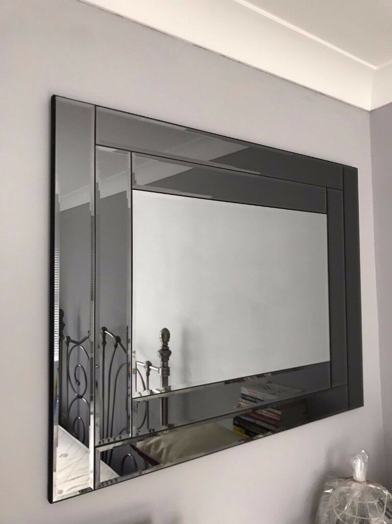 Dark Charcoal Grey Mirrored Mirror