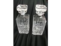 2 beautiful lead crystal decanters