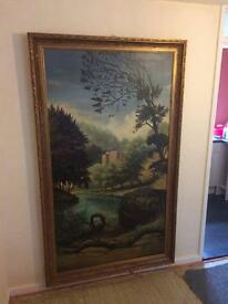 Large Antique old oil painting 8ft by 4ft