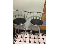 2 chrome bar stools