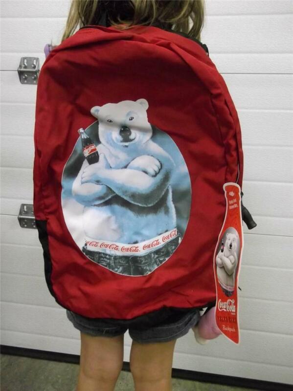 """NOS 1996 Coca Cola Coke Polar Bear Back Pack Book Bag Denier Nylon 18"""" x 13"""""""