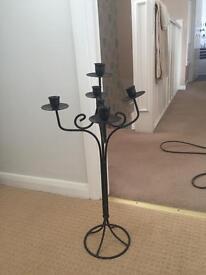 Large black metal candle stick holder