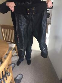Motorbike or scooter leather trousers