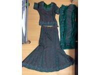 Asian lengha dress emerald green