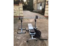 York Weight bench with weights, Squat stands (+dip bars) and 12kg Battleropes