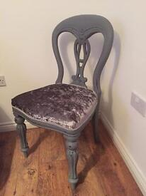 Shabby chic grey painted silver crushed velvet chair