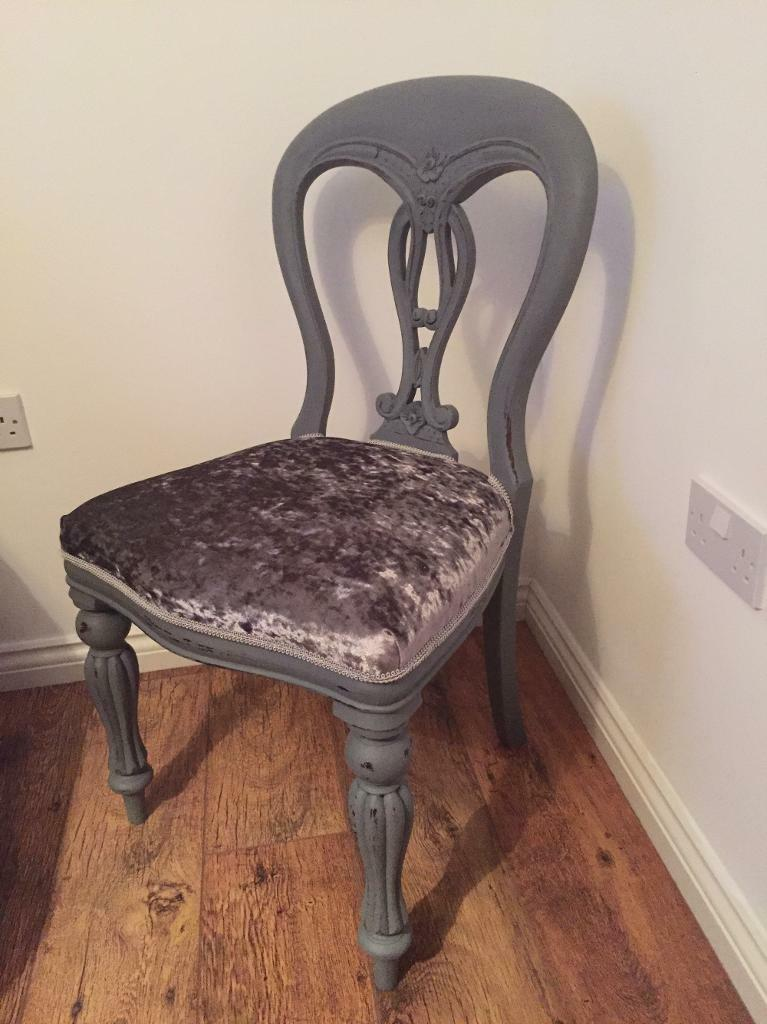 Shabby Chic Grey Painted Silver Crushed Velvet Chair In