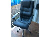 Tall leather office chair.