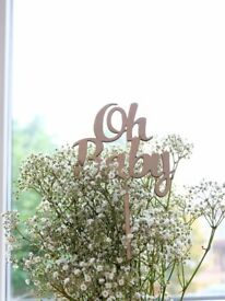 Wooden baby shower cake topper - oh baby - party decoration - Welcome baby cake topper