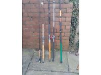 1 fly rod with reel and 4 boat rods