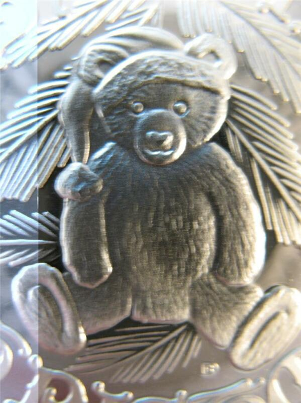 1-OZ.999 SILVER 2013 BABYS 1ST CHRISTMAS  TEDDY BEAR ORNAMENT GIFT BOX COIN+GOLD
