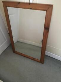 Wooden effect large mirror