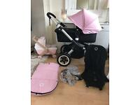 Will sell hoodless for Unisex immaculate bugaboo buffalo pink with footmuff beautiful