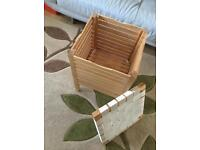 Two wooden laundry baskets