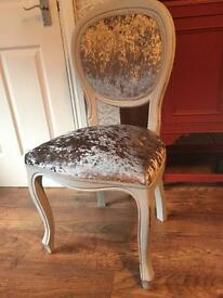 Crushed velvet silver painted grey Louis style chair Shabby Chic