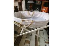Moses basket nearly new with stand