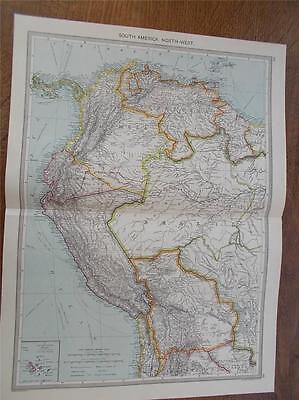 Antique c1904 Colour Map SOUTH AMERICA NORTH WEST HARMSWORTH ATLAS VGC