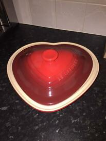 Le Creuest heart shaped casserole dish