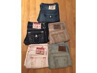 5 pairs of Men's brand new True Religion jeans. All waist 34 apart from grey pair, which is waist 32