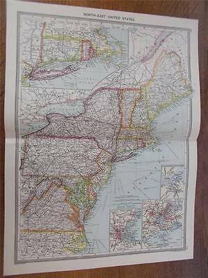 Antique c1904 Colour Map of NORTH EAST UNITED STATES OF AMERICA USA HARMSWORTH