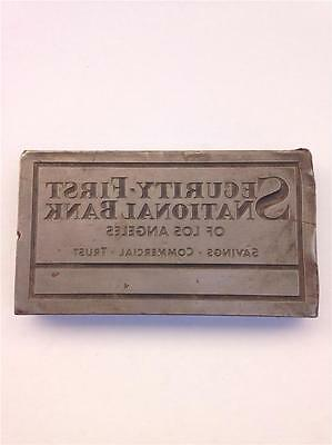 Security-first National Bank Of Los Angeles Heavy Lead Letterpress Printer Block