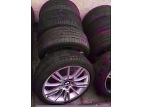 """Bmw Mv3 18"""" Alloy Wheels Staggered Fitment Run Flat Tyres Can Sell Single Can Post Part Ex Welcome"""
