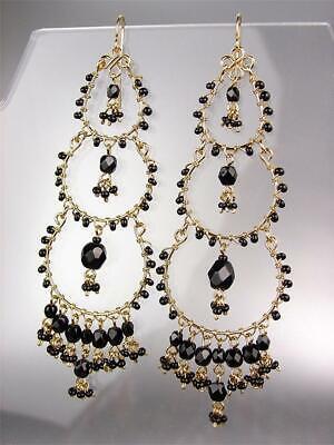 STUNNING Black Onyx Crystal Beads Gold Chandelier Statement Earrings Boho (Black Bohemian Crystal Chandelier)