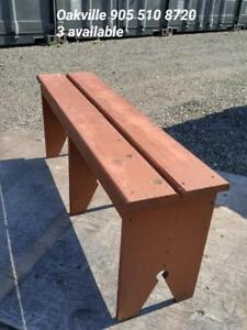 Oakville 3 Rustic Wood Benches - All matching  2 Short and 1 Long Vintage Country Cottage Wooden Vintage Garden BBQ Eats