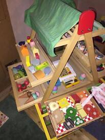 Kids pretend play wooden market stall shop easel
