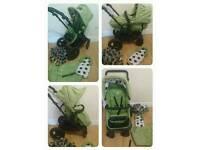 Obaby zezu dotty green pramette with accessories
