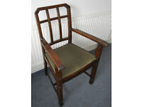 Large Oak Framed Dining Chair, Carver, Office Desk Chair