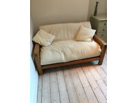 Great solid oak frame 2 seater futon by Futon company with mattress, great condition