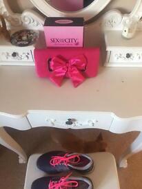 Fuschia pink satin ladies clutch bag